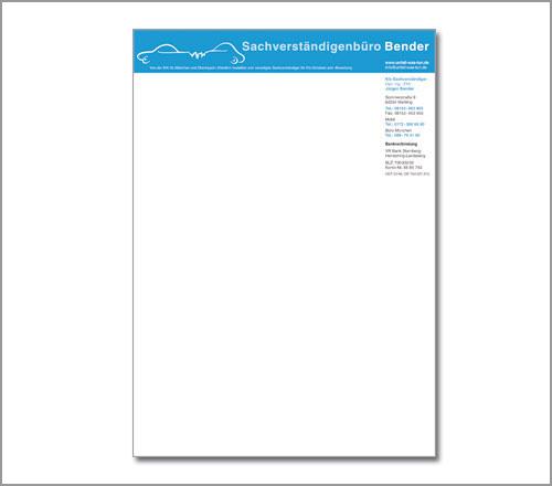 Jürgen Bender KFZ-Sachverständigenbüro – Briefpapier