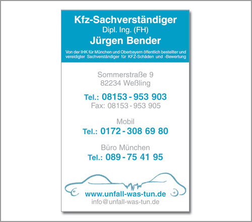 Jürgen Bender KFZ-Sachverständigenbüro – Visitenkarte