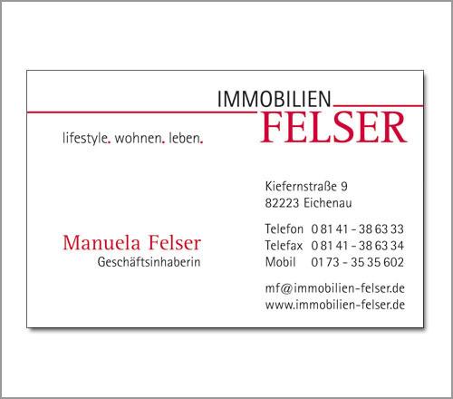 Immobilien Felser – Visitenkarte