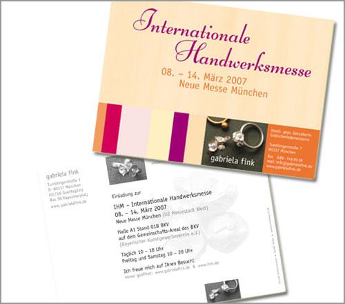 gabriela fink | SCHMUCK – Postkarte...Einladung zur Internationalen Handwerksmesse