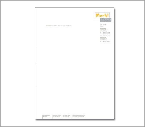 Merkl Immobilien – Briefpapier