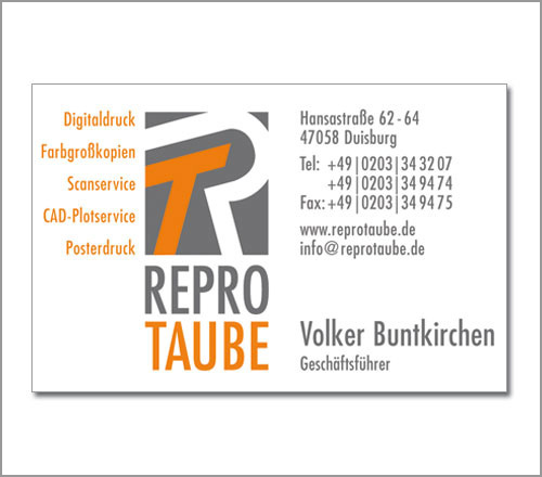 Repro Taube – Visitenkarte