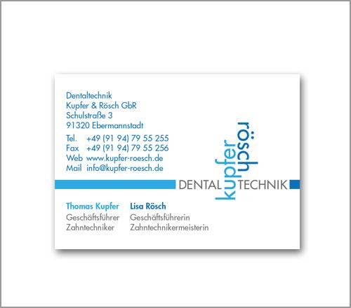 kupfer|rösch Dentaltechnik – Visitenkarte